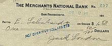 LONDON JACK: (1876 - 1916) American Author. D.S., Jack London, being a signed cheque, San Francisco, 2nd April 1911. The