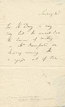 DAVY HUMPHRY: (1778-1829) British Chemist & Inventor. A.L.S., Sir H. Davy, in the third person, one page, 8vo, n.p., n.d