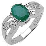 Emerald:Oval/8x6mm 1 /1.20 ctw + Diamond White:Round/1.00mm 10 /0.06 ctw #28207v3