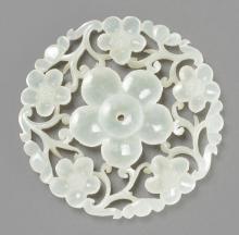 RETICULATED WHITE NEPHRITE PLUM FLOWER PENDANT