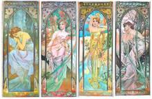 ALFONSE MUCHA 1862-1937 SET OF 4 TIME OF DAY 1975