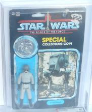 STAR WARS-POTF AT-ST DRIVER WITH COIN, 1985, AFA 50