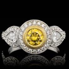 PLATINUM VIVID CANARY YELLOW DIAMOND RING