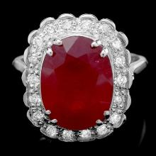 14K WHITE GOLD 9.00CT RUBY 0.60CT DIAMOND RING
