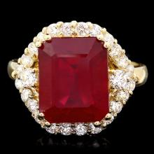 14K YELLOW GOLD 9.00CT RUBY 0.90CT DIAMOND RING