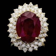 14K YELLOW GOLD 10.00CT RUBY 2.10CT DIAMOND RING