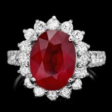 14K WHITE GOLD 5.30CT RUBY 1.35CT DIAMOND RING