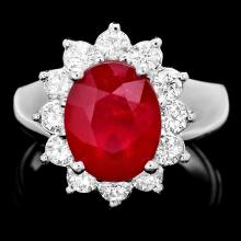 14K WHITE GOLD 6.00CT RUBY 1.00CT DIAMOND RING