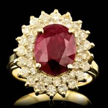 14K YELLOW GOLD 4.00CT RUBY 1.20CT DIAMOND RING