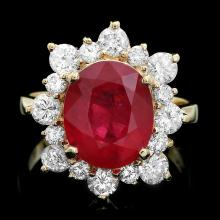14K YELLOW GOLD 5.50CT RUBY 1.40CT DIAMOND RING