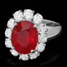 14K WHITE GOLD 5.00CT RUBY 1.50CT DIAMOND RING