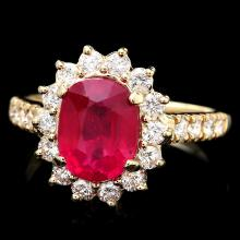 14K YELLOW GOLD 3.50CT RUBY 1.25CT DIAMOND RING
