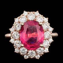 14K ROSE GOLD 4.00CT RUBY 1.60CT DIAMOND RING