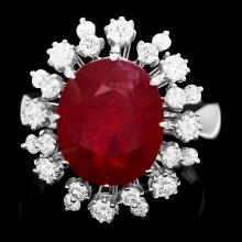 14K WHITE GOLD 11.00CT RUBY 1.20CT DIAMOND RING