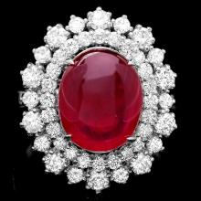 14K WHITE GOLD 8.50CT RUBY 1.60CT DIAMOND RING
