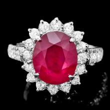 14K WHITE GOLD 6.00CT RUBY 1.20CT DIAMOND RING