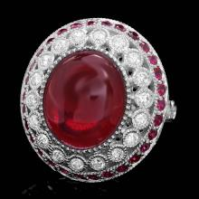 14K WHITE GOLD 12CT RUBY 0.90CT DIAMOND RING