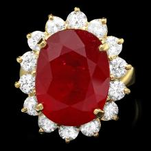 14K YELLOW GOLD 15.00CT RUBY 2.00CT DIAMOND RING