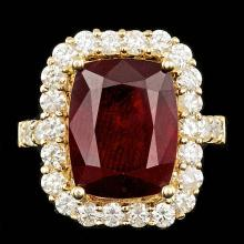 14K YELLOW GOLD 11.50CT RUBY 1.90CT DIAMOND RING
