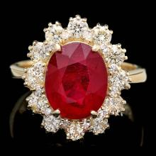 14K YELLOW GOLD 4.50CT RUBY 1.20CT DIAMOND RING