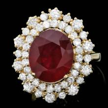 14K YELLOW GOLD 7.00CT RUBY 1.70CT DIAMOND RING