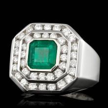 14K WHITE GOLD 2.00CT EMERALD 1.90CT DIAMOND MENS RING