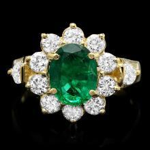14K YELLOW GOLD 1.50CT EMERALD 1.25CT DIAMOND RING