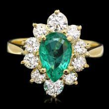 18K YELLOW GOLD 1.00CT EMERALD 1.25CT DIAMOND RING