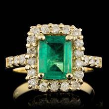 14K YELLOW GOLD 2.00CT EMERALD 0.80CT DIAMOND RING