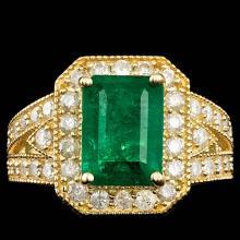 14K YELLOW GOLD 3.50CT EMERALD 1.10CT DIAMOND RING