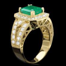 14K YELLOW GOLD 2.20CT EMERALD 1.30CT DIAMOND RING