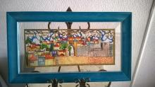 Judaica art: If I Forget thee Jerusalem Pledge.  Paper Cuts Famed over a Clear background
