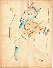 after Marc Chagall (French 1887-1985.) The violinist