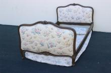 Antique French walnut provincial twin bed
