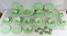 24pc jade glass dessert set, and 8 napkin rings