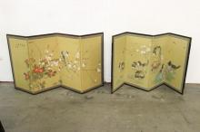 2 Chinese 4-panel watercolor screens