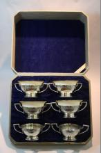 4 Lenox cups with 6 sterling holders