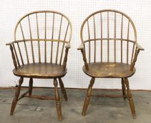 Pair 18th century oak Winsor armchair, c1800