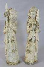 2 Chinese ivory carved generals