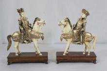Pair Chinese antique ivory carvings decorated w/ jewels