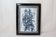 Chinese framed blue and white porcelain plaque