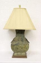 Chinese archaic style bronze hu made as lamp