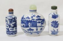 3 vintage blue and white porcelain snuff bottles