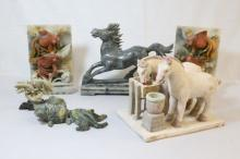 5 soap stone carvings and a Chinese pottery piece