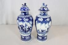 Pair Chinese b&w porcelain covered jars