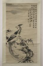 Chinese watercolor scroll depicting phoenix and tree