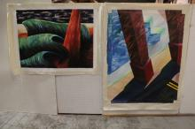 2 large unframed oil painting on canvas