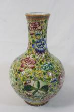 Famille rose porcelain vase painted with flowers
