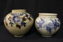 2 vintage Korean blue and white jars
