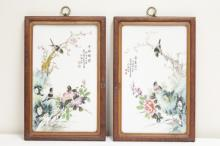 Pair Chinese famille rose porcelain plaques